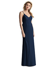 Draped-Back Sleeveless Gown