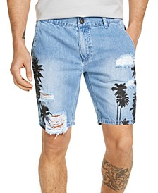 Men's Ripped Palm Print Denim Shorts, Created for Macy's
