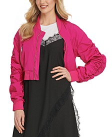 Ruched-Sleeve Bomber Jacket