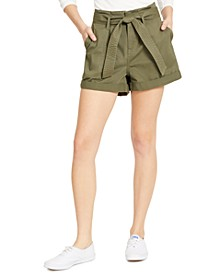 Juniors' Belted Cuffed Shorts