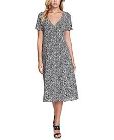 Folk Silhouette Floral-Print Midi Dress
