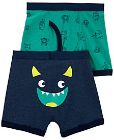 Boys 2-Pk. Cotton Monster Boxer Briefs
