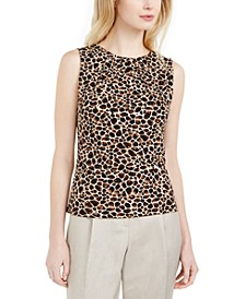 Animal-Print Pleat-Neck Top