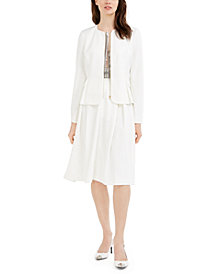 Calvin Klein Petite Scuba Zip-Front Cropped Jacket & Midi Skirt
