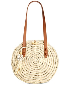 INC Melania Circle Straw Tote, Created for Macy's