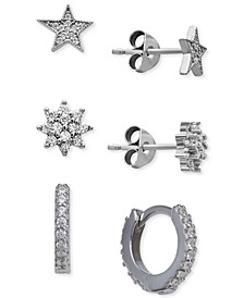 3-Pc. Set Cubic Zirconia Stud & Huggie Hoop Earrings in Sterling Silver, Created for Macy's
