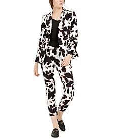 X-Fit Cow-Print One-Button Blazer & Pants