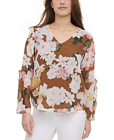 Printed Ruffle-Sleeve Top