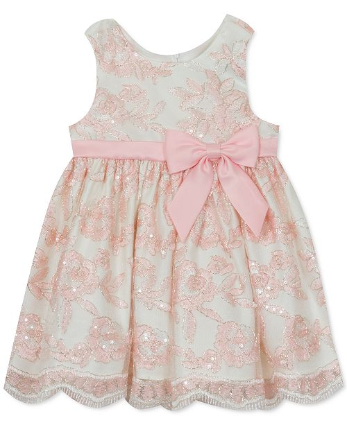 Rare Editions Baby Girls Sequin Embroidered Mesh Dress