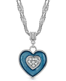 Enamel Heart with Swarovski Crystal Accent Necklace