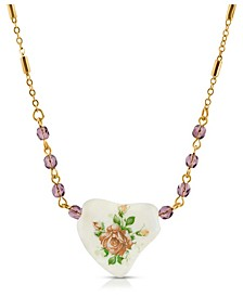 Beaded Heart with Pink Floral Decal Necklace