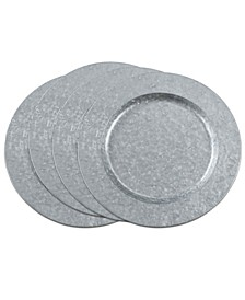 Metal Charger Plates with Polished Galvanized Finish Set of 4