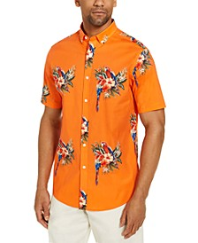 Men's Tropical Parrot Print Short Sleeve Shirt, Created for Macy's