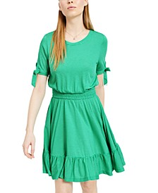 Smocked-Waist Tie-Sleeve Dress, Created For Macy's