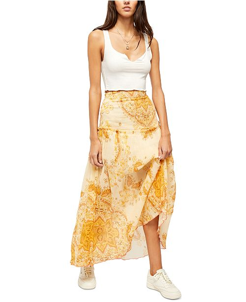 Free People Farrah Drop-Waist Maxi Skirt