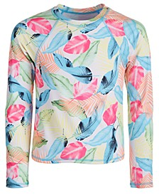 Big Girls Colorful Leaf-Print Long-Sleeve Rash Guard