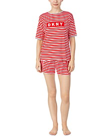 Striped Sleep T-Shirt & Boxer Shorts Set