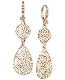 Gold-Tone Filigree Double Drop Earrings