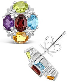 Multi-Gemstone (3-1/5 ct. t.w.) Stud Earrings in Sterling Silver