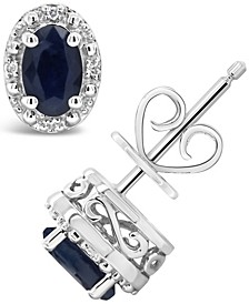 Sapphire (1-1/5 ct. t.w.) and Diamond Accent Stud Earrings in Sterling Silver
