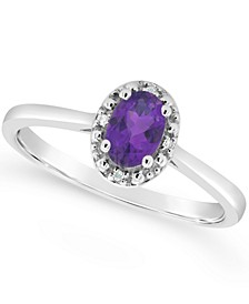 Amethyst (3/8 ct. t.w.) and Diamond Accent Ring in Sterling Silver (Also Available in Other Gemstones)