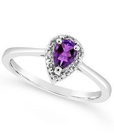 Amethyst (1/3 ct. t.w.) and Diamond Accent Pear Teardrop Ring in Sterling Silver (Also Available in Other Gemstones)