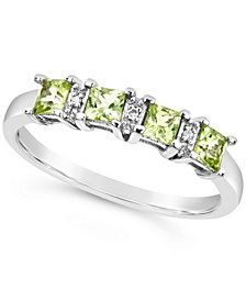 Gemstone and Diamond Accent Ring in Sterling Silver