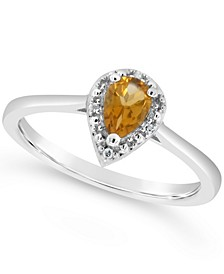 Citrine (1/3 ct. t.w.) and Diamond Accent Pear Teardrop Ring in Sterling Silver (Also Available in Other Gemstones)
