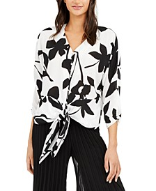 Printed Tie-Front Blouse, Created For Macy's