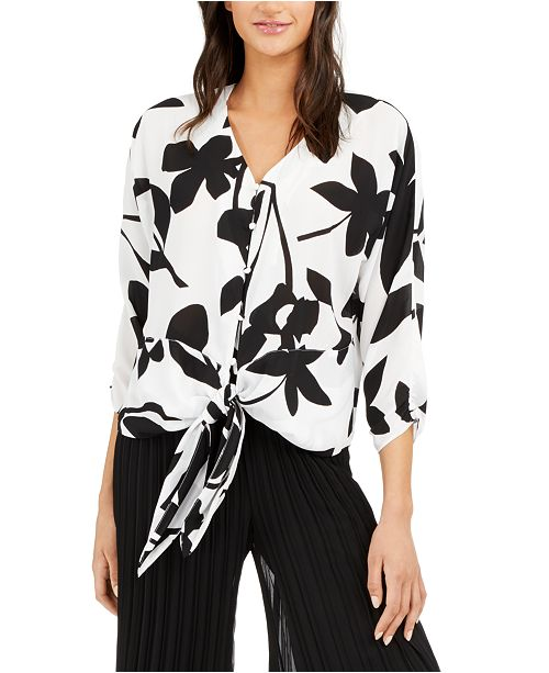 Alfani Printed Tie-Front Blouse, Created for Macy's