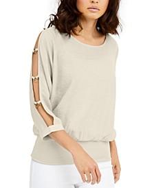 Gauze Cutout-Sleeve Top, Created for Macy's