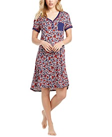 Printed Henley Sleep T-Shirt Nightgown