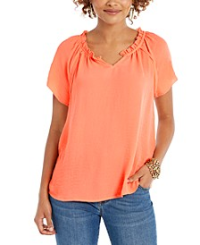 Crinkle Flutter-Sleeve Top, Created For Macy's