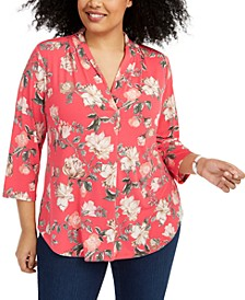 Plus Size Floral-Print Pleated-Neck Top, Created for Macy's