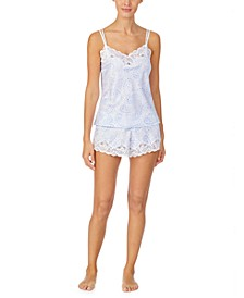 Lace-Trim Cami & Boxer Shorts Pajama Set
