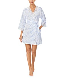 Lace-Trim Printed Satin Robe