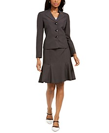 Pin Dot Three-Button Skirt Suit