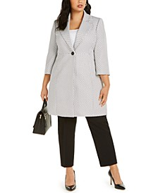 Plus Size One-Button Notched-Collar Pant Suit