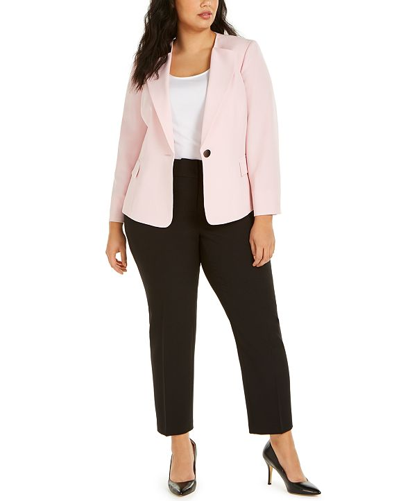 Le Suit Plus Size One-Button Pants Suit