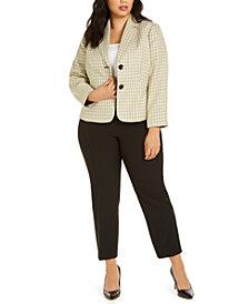 Le Suit Plus Size Tweed-Jacket Pants Suit
