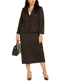 Plus Size Shimmering Two-Button Notched-Collar Skirt Suit