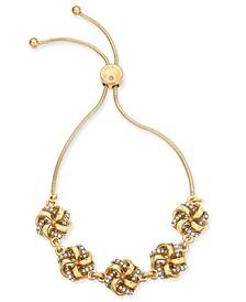 Gold-Tone Pavé Love Knot Slider Bracelet, Created for Macy's