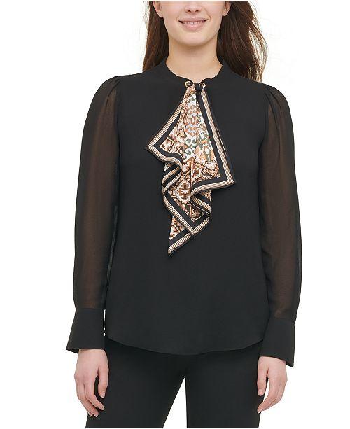 Calvin Klein Scarf-Tie Blouse