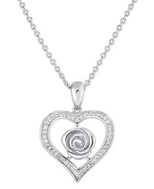 Cubic Zirconia Rose In Heart Pendant In Fine Silver Plate
