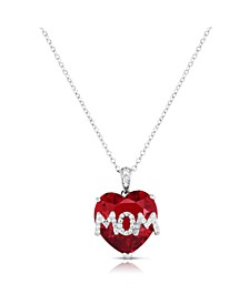 Simulated Ruby Mom Pendant In Fine Silver Plate