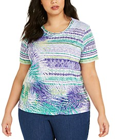 Plus Size Costa Rica Lattice-Trim Top