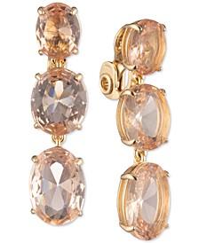 Stone Clip-On Triple Drop Earrings