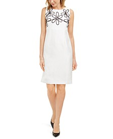 Embroidered Sleeveless Sheath Dress