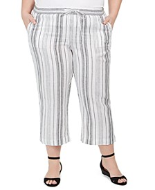 Plus Size Striped Linen Pants, Created for Macy's