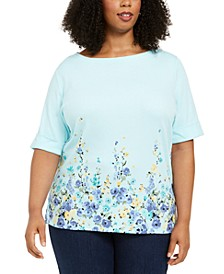 Plus Size Elbow-Sleeve T-Shirt, Created for Macy's